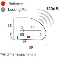 dimensiuni alarma moto xena xzz6